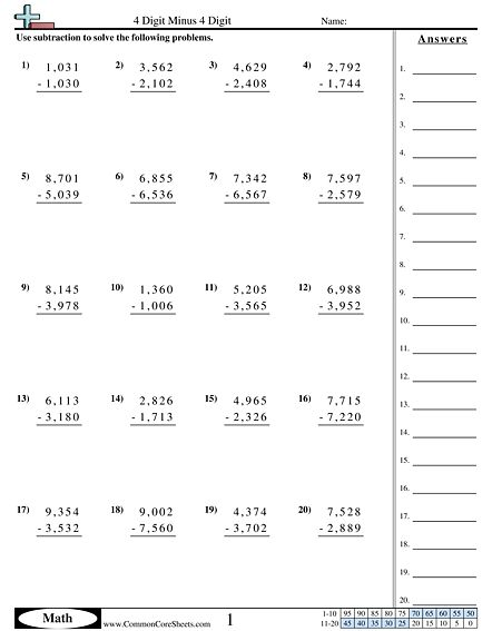 4 digit subtraction with regrouping worksheets pdf in 2020 ...
