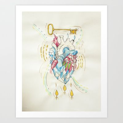 Treasured Heart // Watercolor // Coffee // 1 of 2 Art Print by The House of Black - $18.00