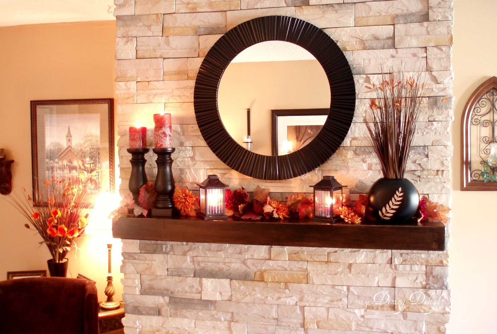 Round mirrors above fireplace this yearus fall mantel uses similar