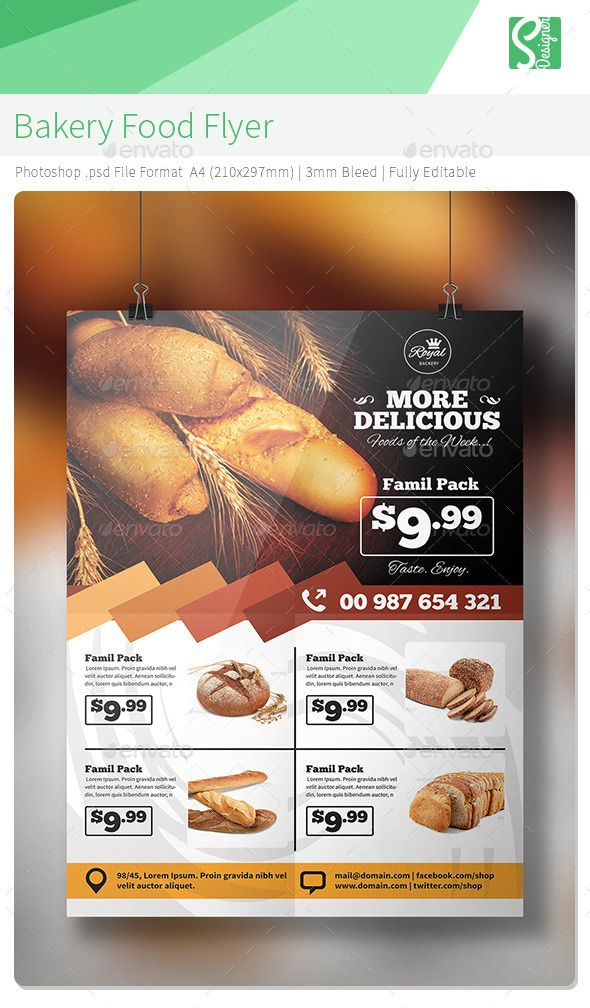 Bakery Food Flyer Flyer template, Bakeries and Template - calendar flyer template