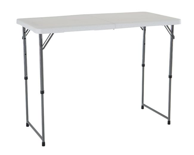 Lifetime Adjustable Leg Table 4428 White 4 Fold In Half Folding Table Fold In Half Table Half Table Adjustable Table