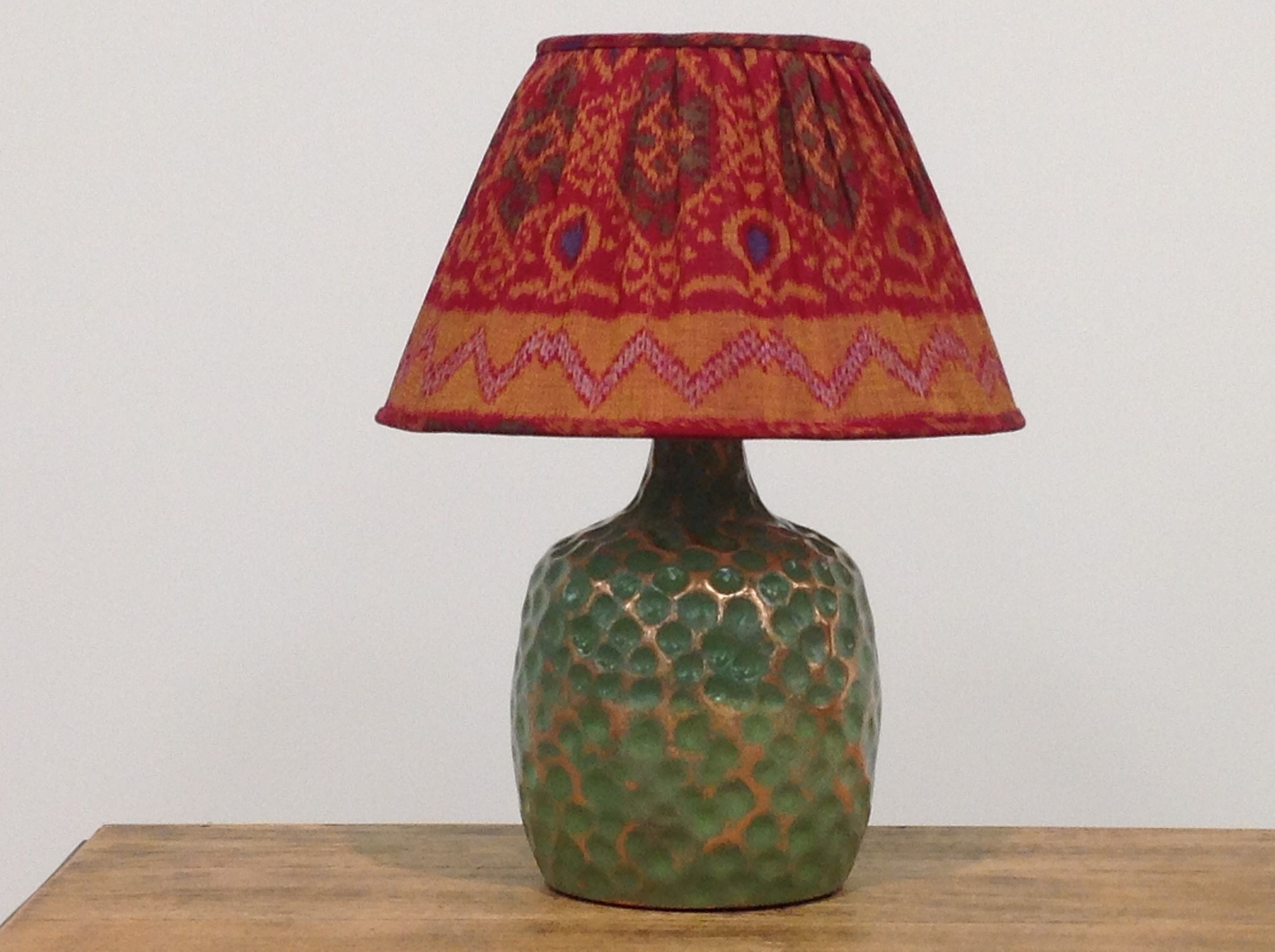Red And Gold Gathered Ikat Lampshade