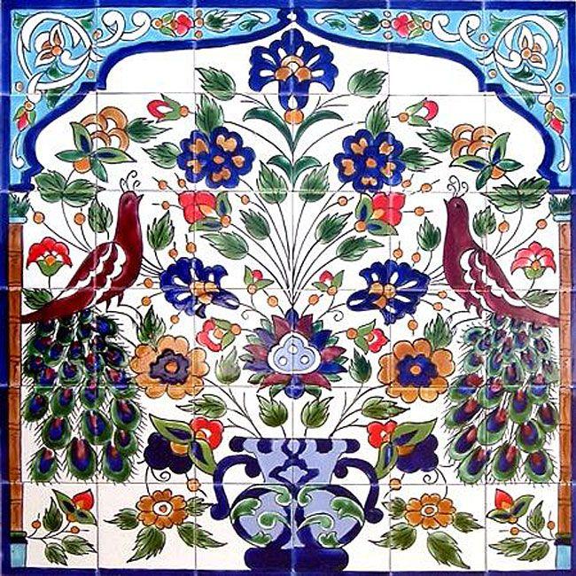 Mosaic Peacock Ceramic 36 tile Mural Wall murals Mosaics and Walls
