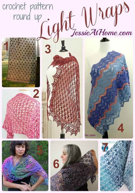 Light Wraps free crochet pattern round up from Jessie At Home ...