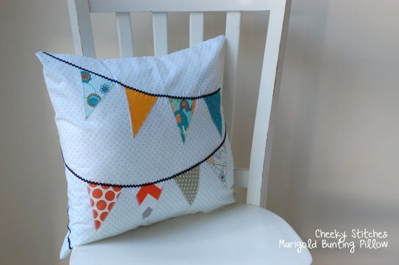 Spotty Bunting Pillow Baby Pillow with Bunting by CheekyStitches, $46.95