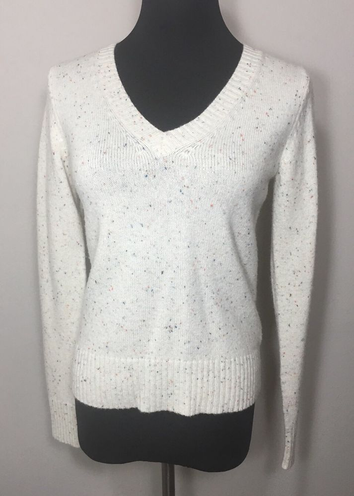 5fe569ba86c8 Old Navy M Sweater Beige Speckle Wool Off White  OldNavy  VNeck ...