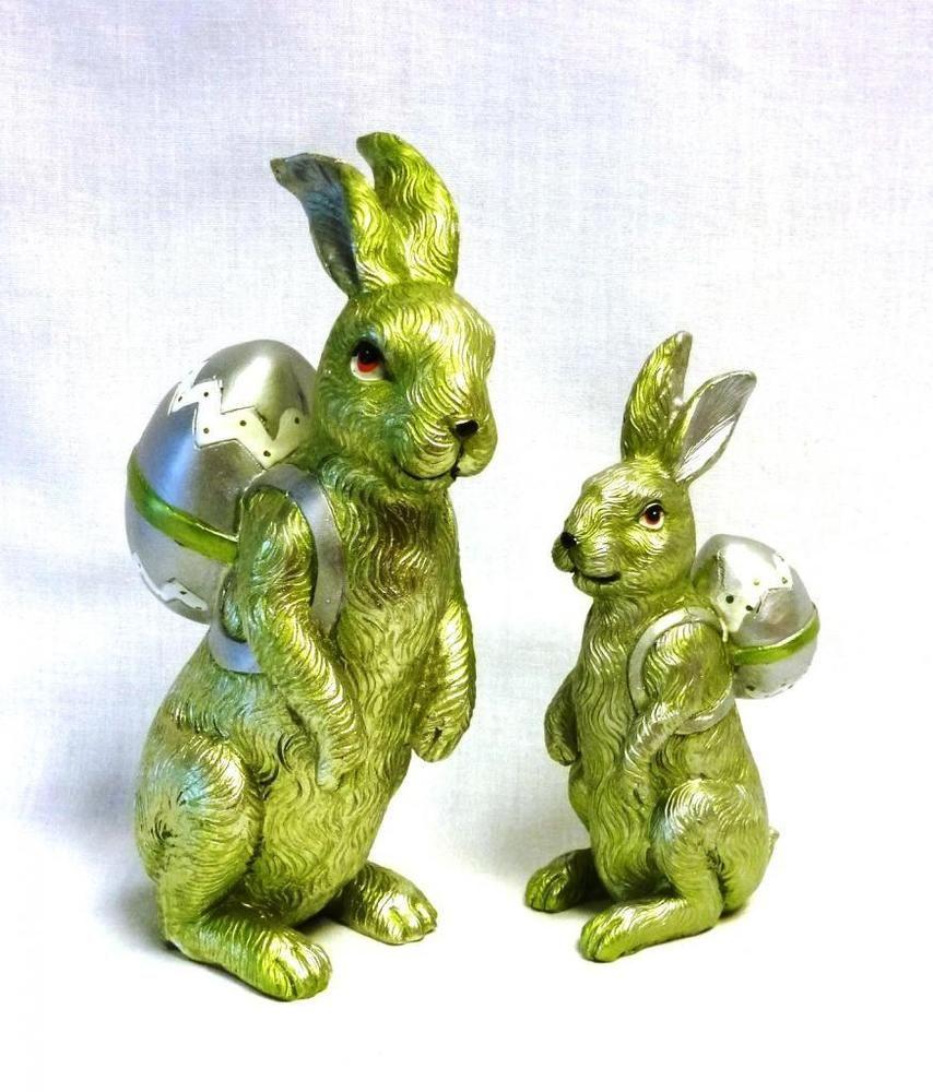 Formano Hasenpaar Ostern Osterhase Deko Dekohase Figur 2 er Set metallic grün mo