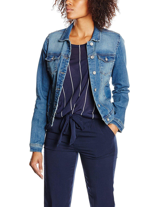 Dunkle jeansjacke Damen | Jeansjacke damen, Dunkle jenas