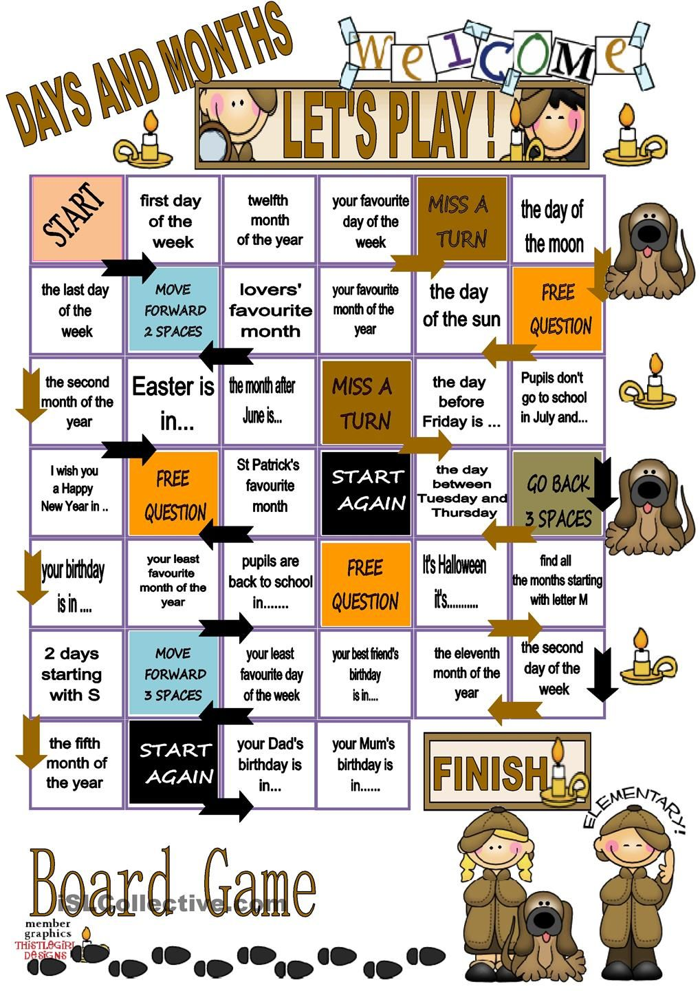 Days And Months Board Game English Games For Kids Learning