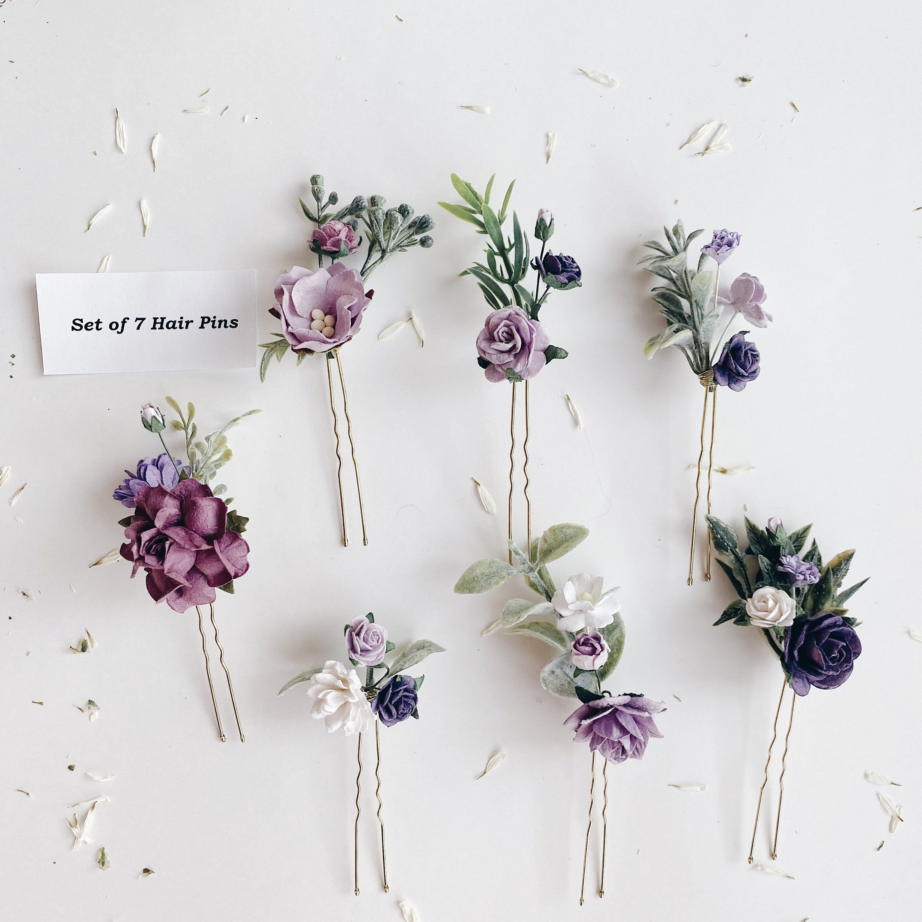 Flower Hair Pins Lilac Hair Flowers Set Of Hair Pins Bridal Hair Piece Purple Purple Hair Pins Hair Comb Wedding Lavender Hair Piece In 2020 Flower Hair Pin Floral Hair Pins