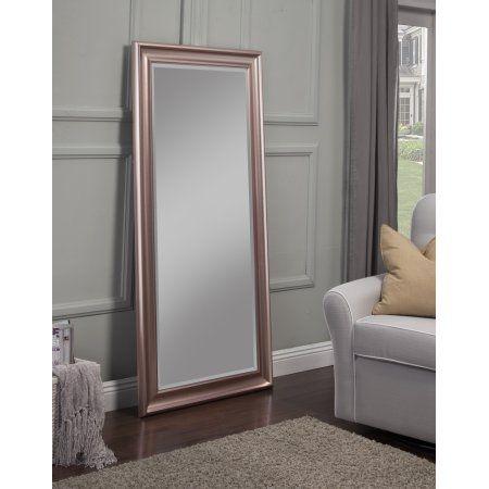 Full Length Leaner Mirror, Rose Gold, 65 inchx31 inch, By Sandberg Furniture