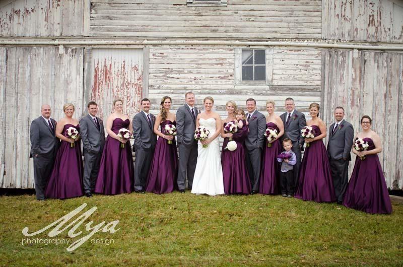 Eggplant Wedding Purple Cream And Greenery Bouquets Purple And