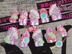 Pink Candies kawaii nail art