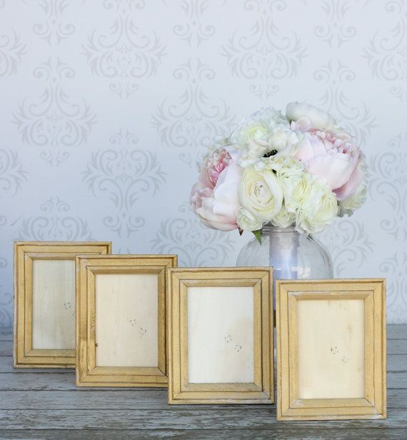 Shabby chic gold frames rustic distressed paint by braggingbags bridal showers junglespirit Choice Image