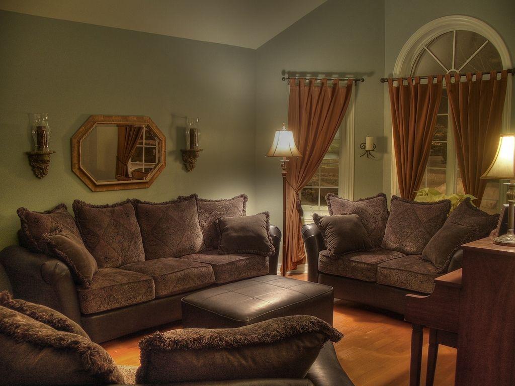 Fantastic Sofa Brown Curtain Green Wall Colorful Classic