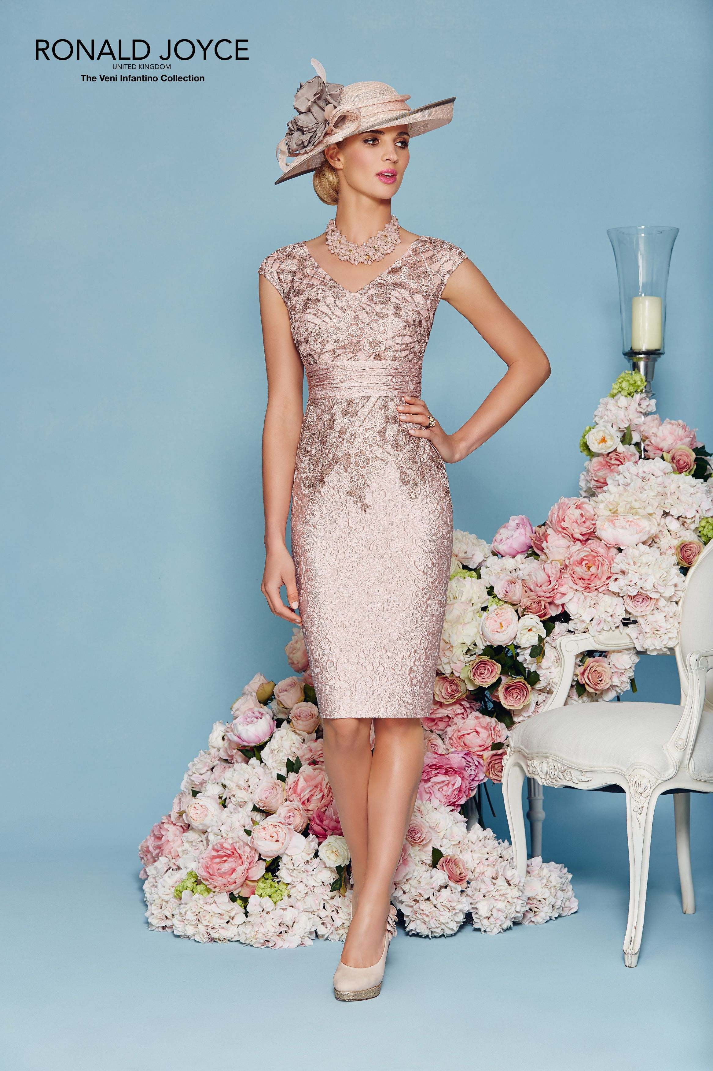 100 Off... Ronald Joyce Dress & Jacket 991124, colour Blush/Taupe ...