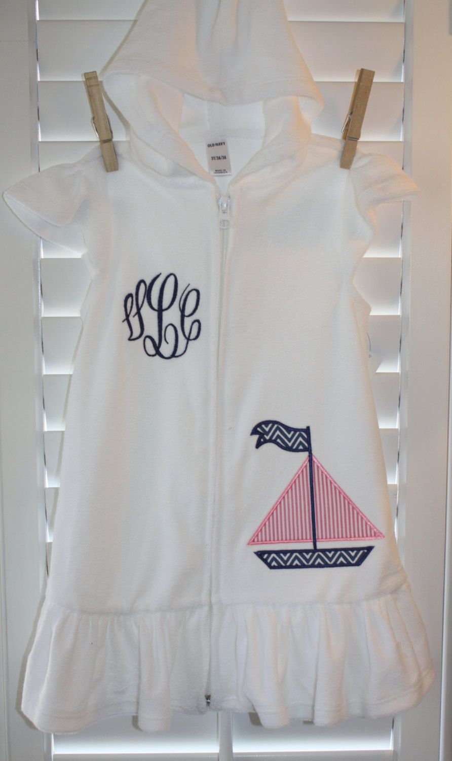 75c6f5d995b60 Girls Hooded Terry Swim Cover-up with Sailboat Applique   Monogram.  30.00