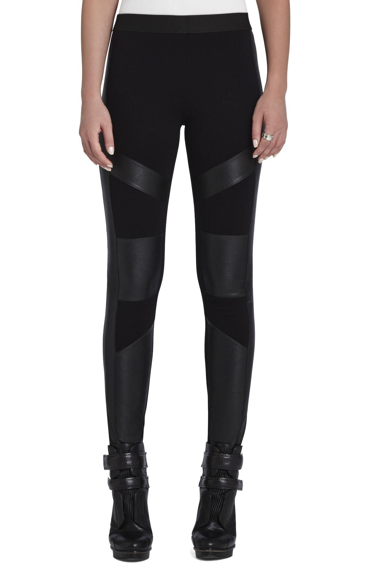876032a89abd9c Black leggings with pleather details super cute and trending ...