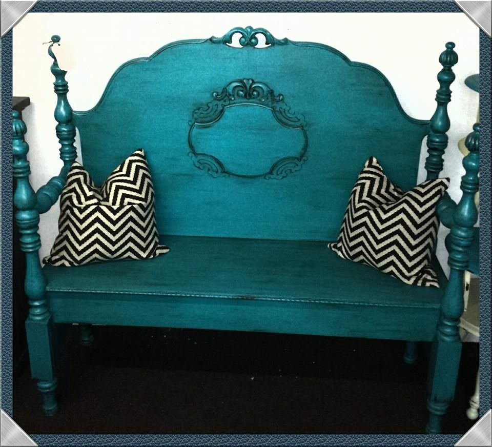 This beauty was made from an antique headboard, painted turquoise and dark waxed!