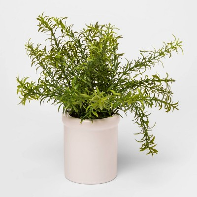 9 X 9 Artificial Rosemary Plant In Ceramic Pot Green White