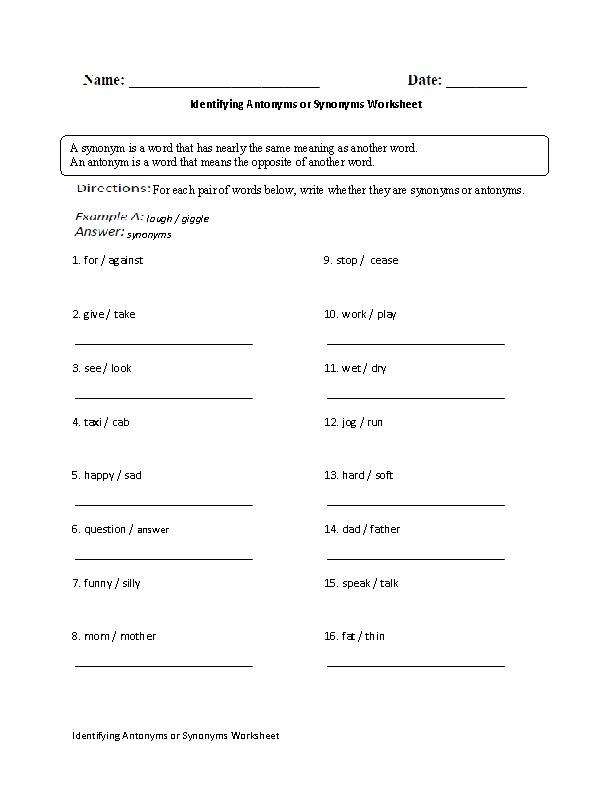Identifying Antonyms or Synonyms Worksheet   Englishlinx.com Board ...