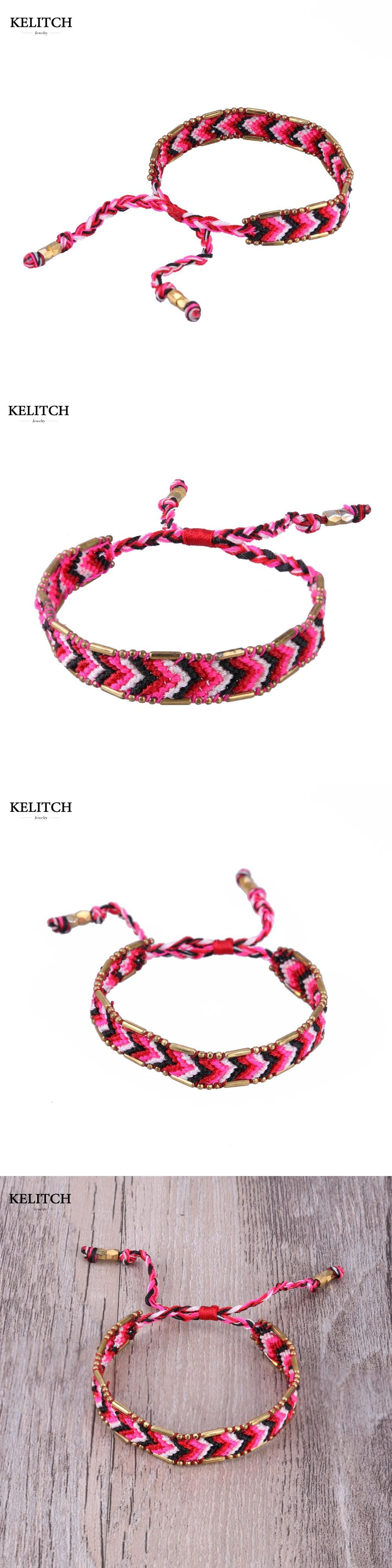 4063e03c0c Kelitch Jewelry Adjustable Cotton Woven String Rope Bracelets Handmade  Exquisite Wrap Lace-up Red Friendship Bracelet