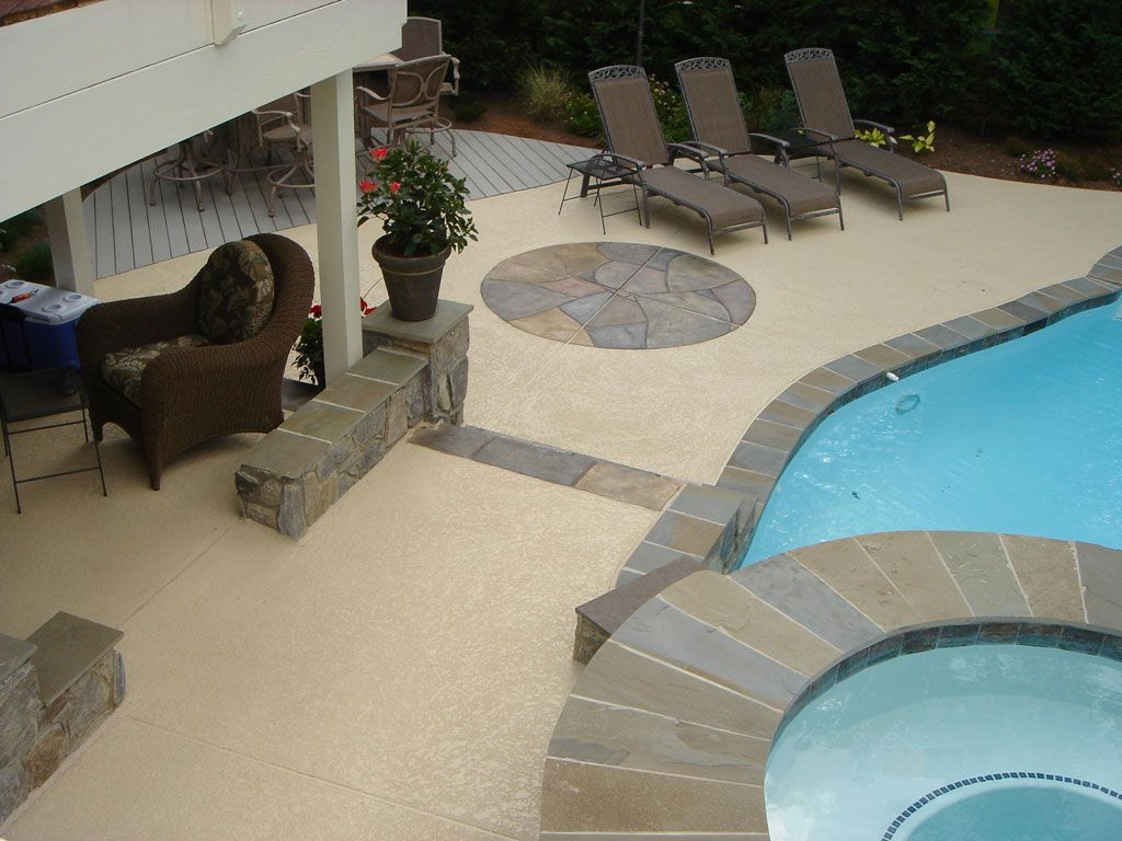 Tile Over Concrete Pool Deck 180 Best Pool Landscapes Images On Pinterest  Backyard Ideas