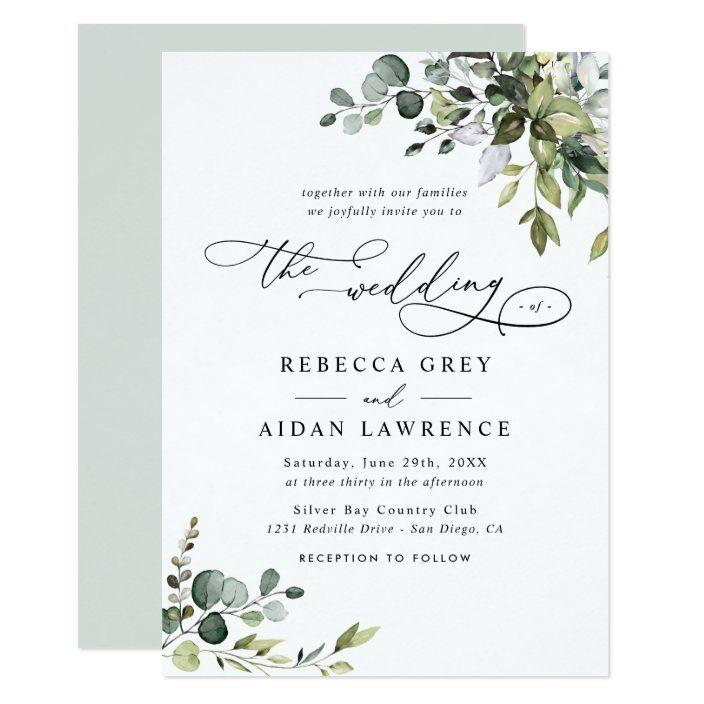 Elegant Rustic Eucalyptus Leaves Greenery Wedding Invitation Zazzle Com Wedding Invitations Rustic Greenery Wedding Invitations Elegant Wedding Invitations