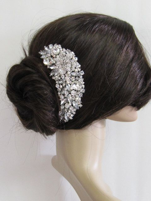 Wedding Pearl Hari Comb Bridal Hair Large Crystal Accessories By Amoretto On Etsy