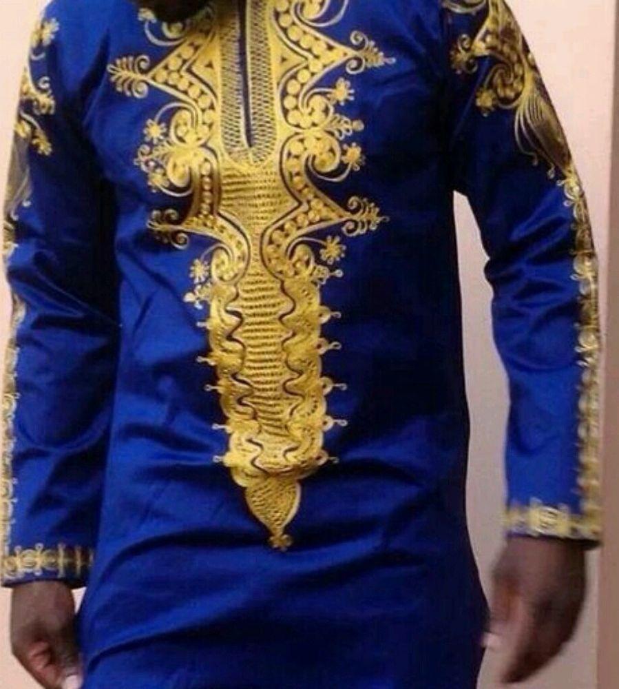 Shirt design blue cotton - Odeneho Wear Polished Cotton Blue Gold Shirt African Wear Clothing
