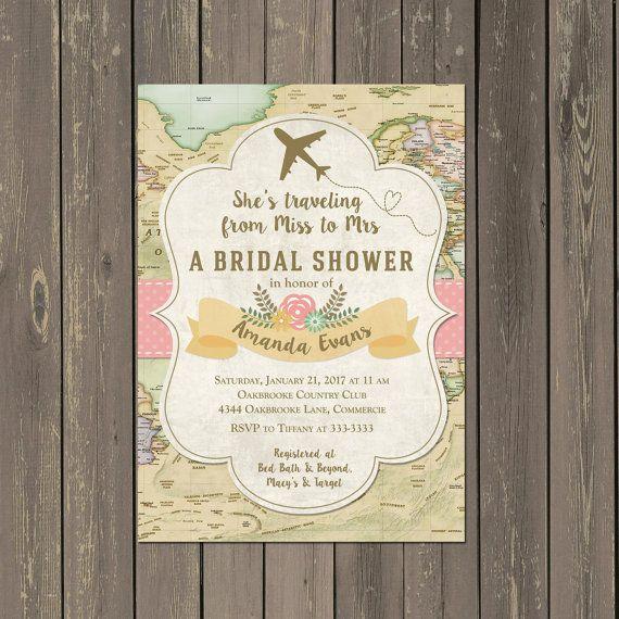 Travel Bridal Shower Invitation Miss To Mrs Travel Themed Shower