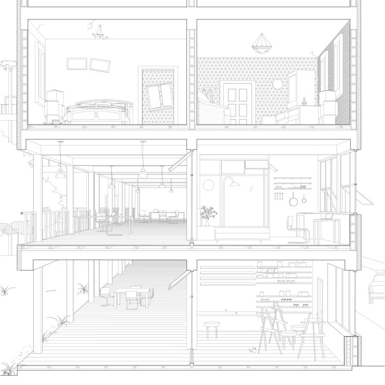 Multi family house section perspective urban cloister project by daisy ames and wanli mo - Coupe et section dessin technique ...