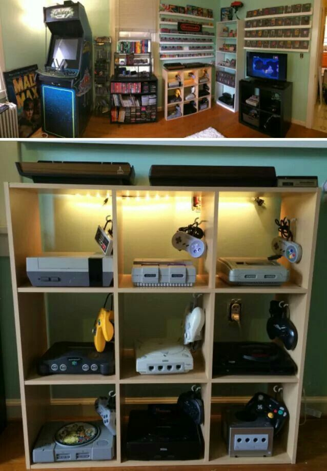 Gaming Console Set Up Retro Games Room Video Game Rooms Game Room Design