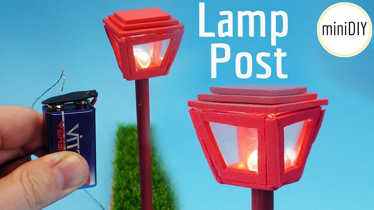 Tutorial Miniature Battery Lighted Lamp Post Tiny Lamp Miniature Diy Garden Lamp Post