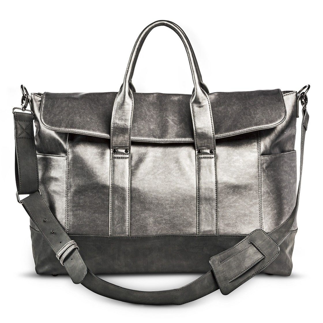 Women's Limited Edition Metallic Weekender Handbag - Silver