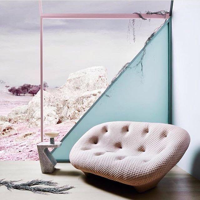 Ploum Sofa by Ligne Roset paired with pastels via norsuinteriors