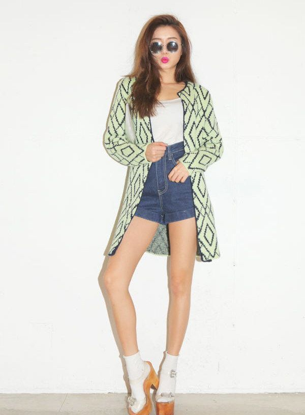 Modern Style Scoop Neck Diamond Pattern Long Sleeves Knitting Cardigan For Women (AS THE PICTURE,ONE SIZE) China Wholesale - Sammydress.com