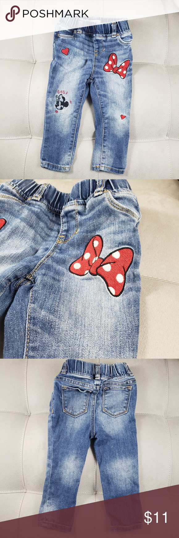 Toddler Girl Disney Minnie Mouse Embroidered Jeans Embroidered Jeans Toddler Girl Disney Girls [ 1740 x 580 Pixel ]