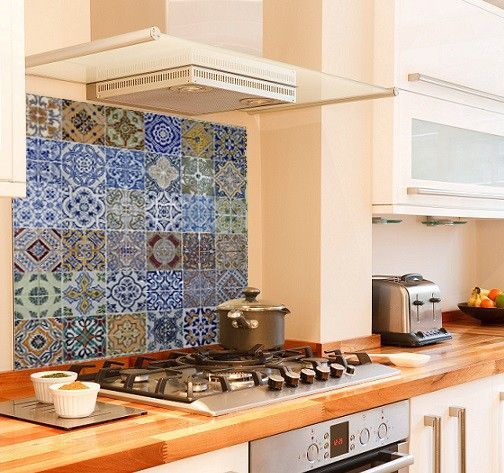 Ceramic Tile Effect Diy Kitchen Glass Splashback Printed Glass