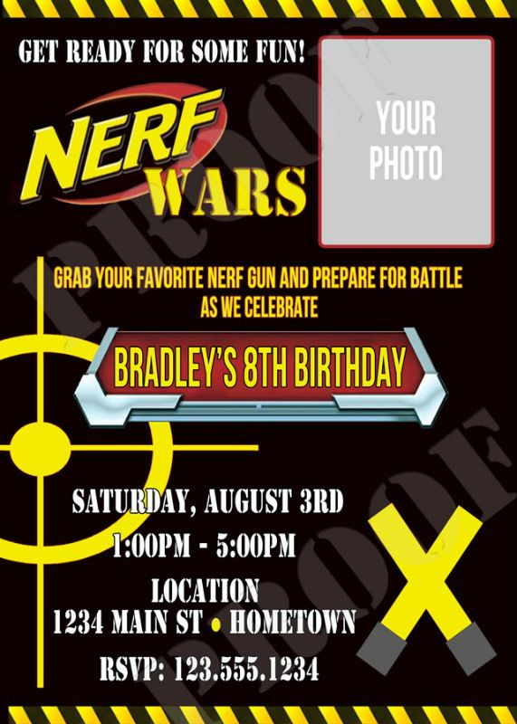 Personalized Nerf War Birthday Party Invitations Birthday Party - Party invitation template: nerf war party invitation template