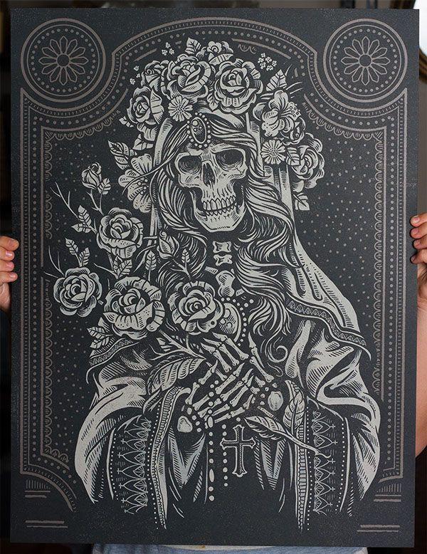 32ce0458c Sacred Virgin - Art Print by Derrick Castle, via Behance | Calaveras ...