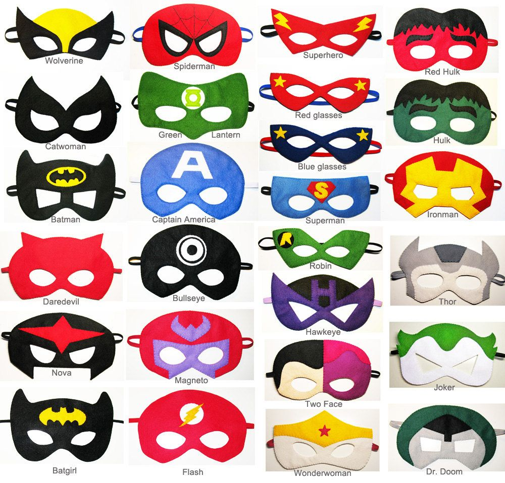 20 felt superhero masks party pack for kids you by feltfamily