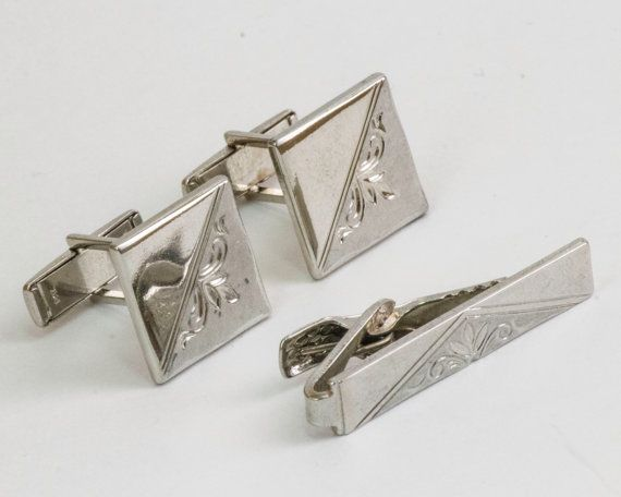 Vintage Cufflink and Tie Bar Set Classic Silver by CuffsandClips, $27.50