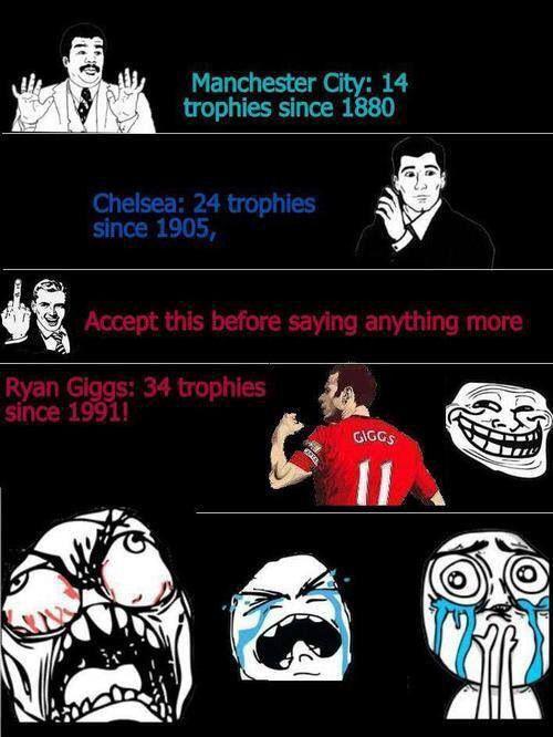 You mad bro Giggs has has more trophies then your club