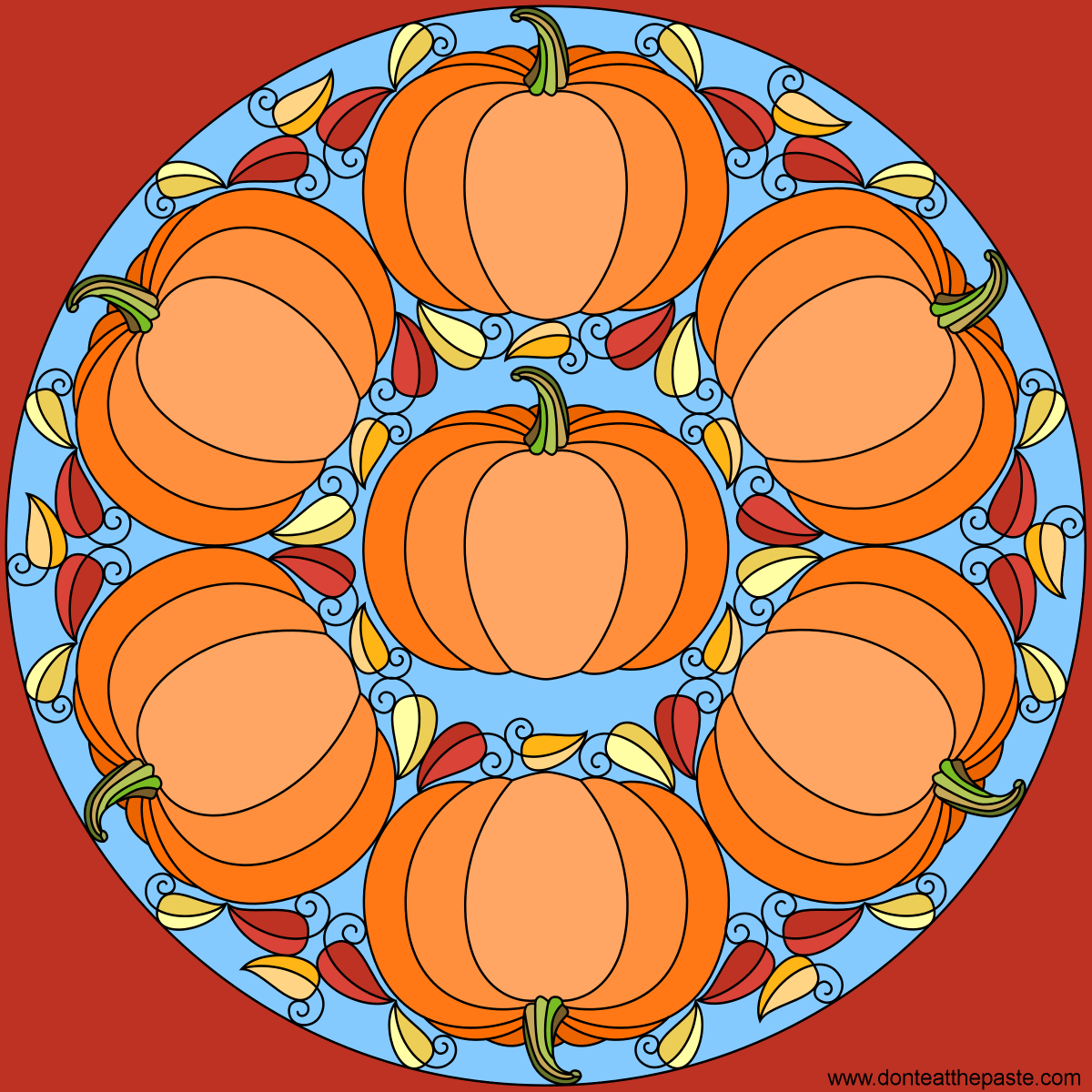 Pumpkin mandala for autumn- blank version available to color ...