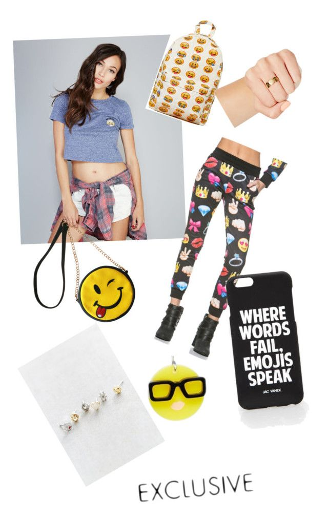 """""""ExclusiveEmoji's"""" by kaylahca ❤ liked on Polyvore featuring Wet Seal, OLIVIA MILLER, Jac Vanek, Missguided and Tatty Devine"""