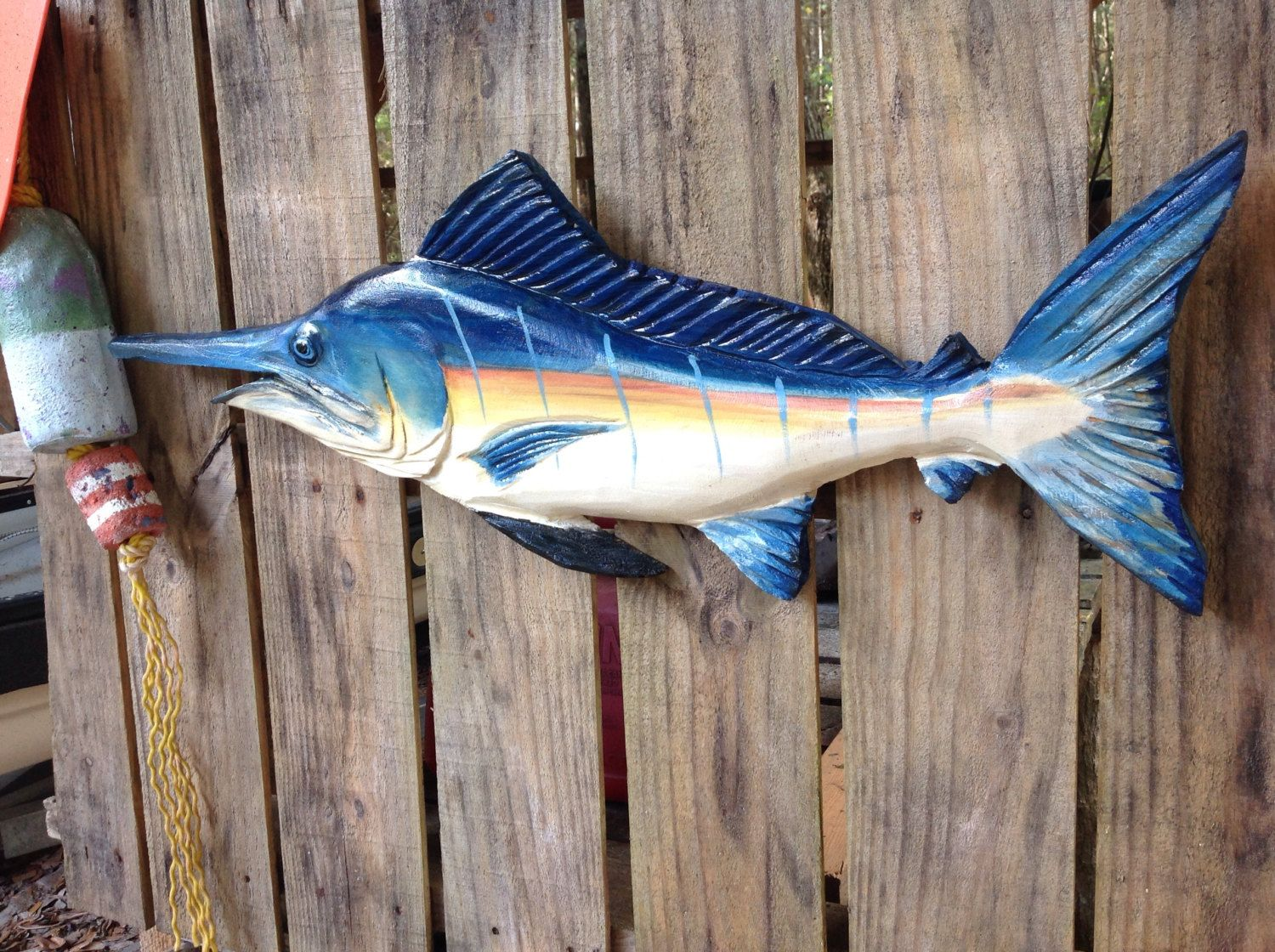 Blue marlin 30 chainsaw wood carving fish wall mount sculpture fishing decor sealed indoor outdoor angler art nautical home accent by oceanarts10 on etsy