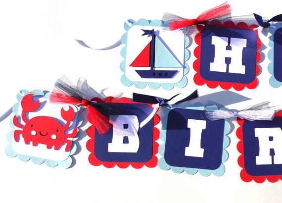 Nautical Themed Happy Birthday Party Banner in by ScrapsToRemember