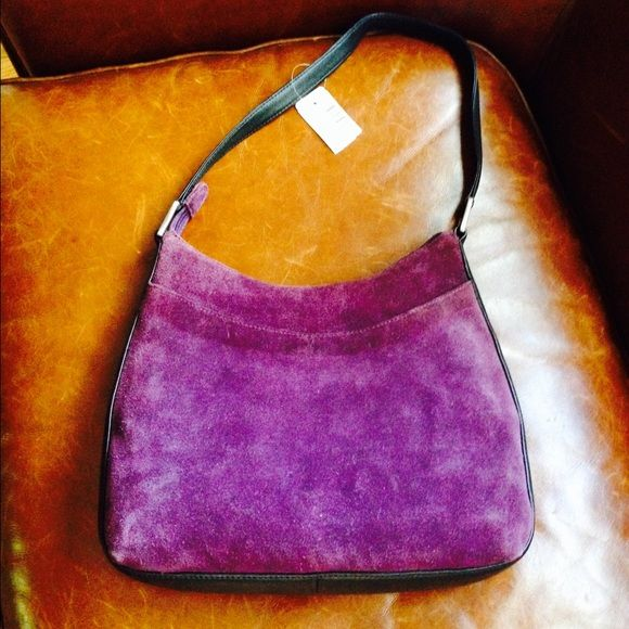 Suede and leather Freeport Studio purse, new LL Bean Freeport Studio rich purple suede bag with black leather trim. Bought several years ago and never carried. Always stored with original packing. Lined, one interior so pocket. LL Bean Bags Shoulder Bags