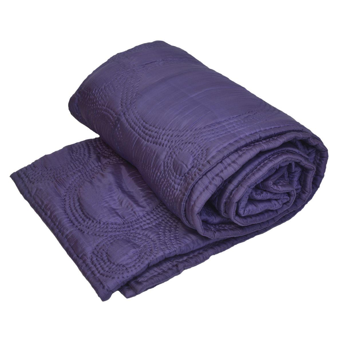 boutis couvre lits r versible mauve 240 x 240 100 soie garnissage polyester matelass. Black Bedroom Furniture Sets. Home Design Ideas